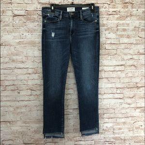 Frame Denim Le High Straight Raw-Edge Stagger Jean